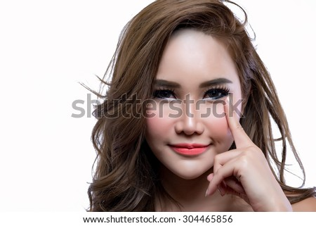 Asian woman beauty face close up portrait. Beautiful attractive  Thailand Asian / Caucasian female model with perfect skin isolated on white background. - stock photo