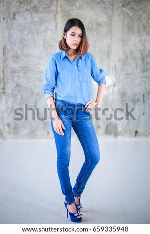 Asian model jeans