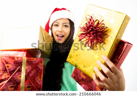 Asian woman celebrating christmas shooting in white background