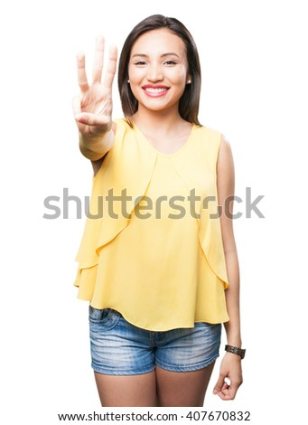 asian woman doing number three gesture - stock photo