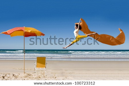Asian woman enjoying her vacation at gold coast beach in australia - stock photo