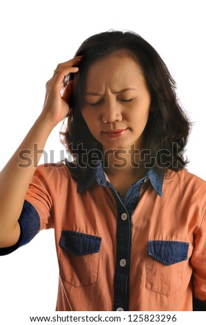 Asian woman feel dizzy isolated over white background