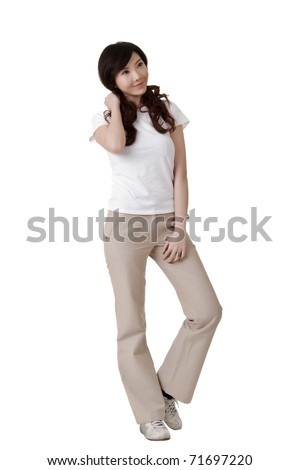 Asian woman, full length portrait isolated over white background.
