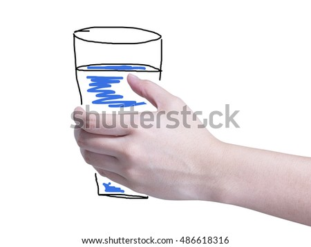 asian woman hand holding a glass or cup or something like that isolated on white background
