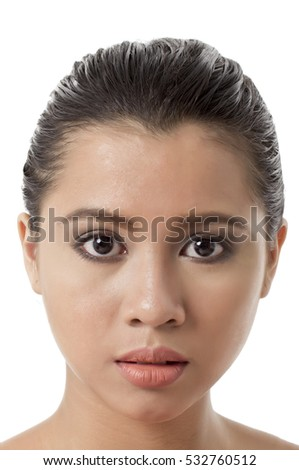 Asian woman head shot isolated on white background