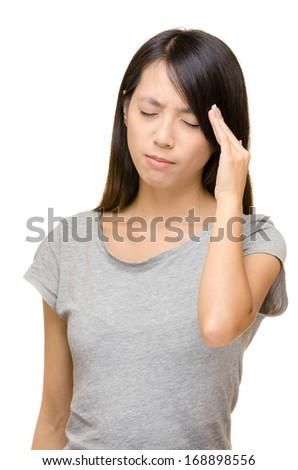 Asian woman headache - stock photo