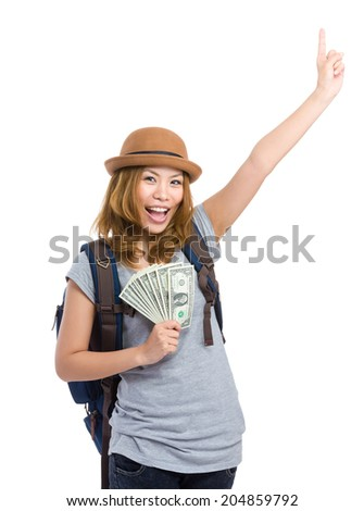 Asian woman hold with cash and hand up - stock photo