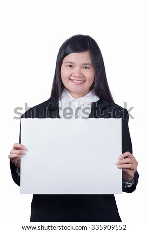 Asian woman holding a blank