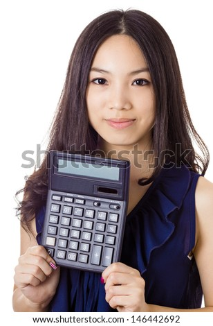 Asian woman holding calculator - stock photo
