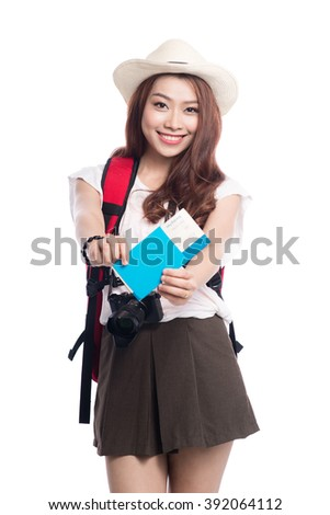 Asian woman holding travel documents isolated on white background - stock photo