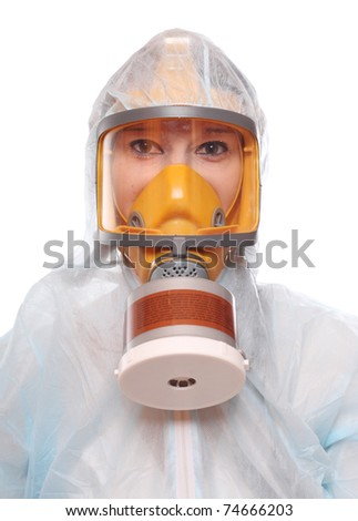 Asian woman in gas mask and bio-hazard suit on white background. - stock photo