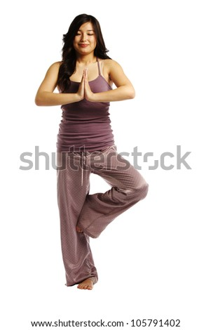 Asian woman in meditation position enjoying the moment