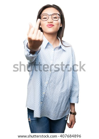 asian woman insulting - stock photo