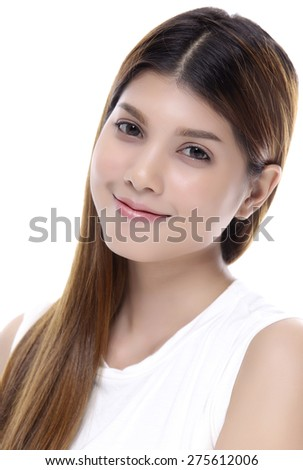 Asian woman isolated on white background. Casual woman smiling looking happy. - stock photo