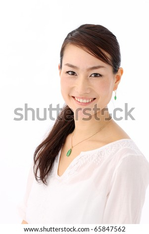 Asian woman isolated over white background - stock photo