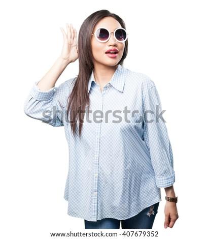 asian woman listening - stock photo