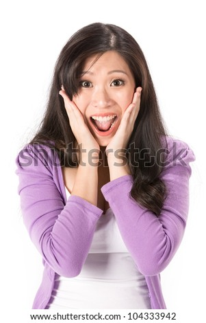 Asian woman looking pleasantly surprised. Isolated on white - stock photo