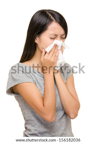 Asian woman nose allergic - stock photo