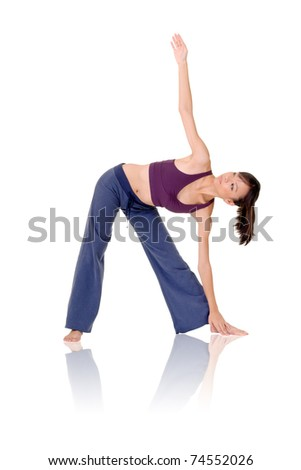 Asian woman of fitness doing expert yoga pose, full length portrait isolated on white background. - stock photo