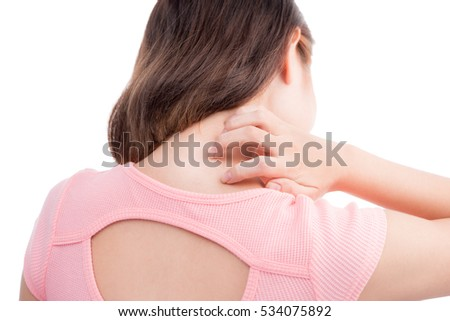 Asian woman scratch the itch with hand ,neck, itching.