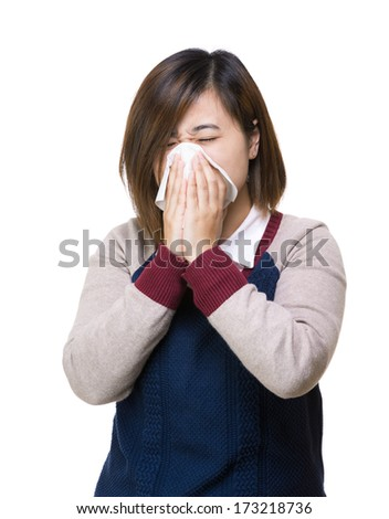 Asian woman sneeze