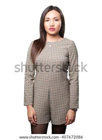 asian woman standing - stock photo