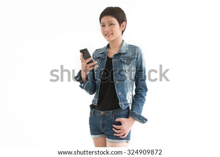 Asian woman standing with white background