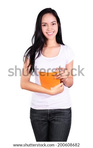 Asian woman student smile face and happy with holding a book Isolated