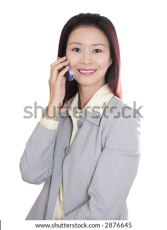 Asian Woman Talking Mobile Phone in white background