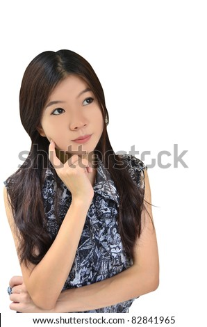 Asian woman thinking on white background - stock photo