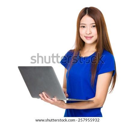 Asian woman use of laptop - stock photo