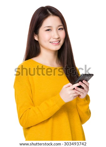 Asian woman use of the cellphone