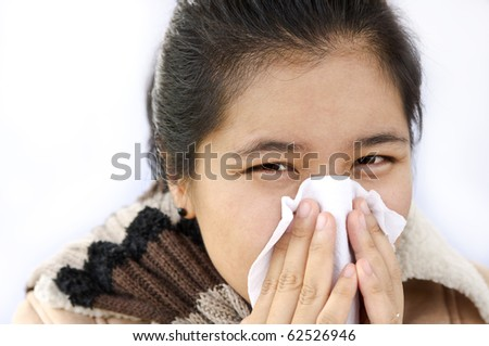 asian woman used a tissue paper - stock photo
