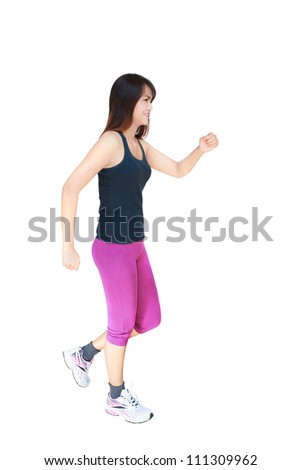 Asian woman walking, Isolated on white - stock photo