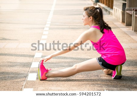 Asian women up and running