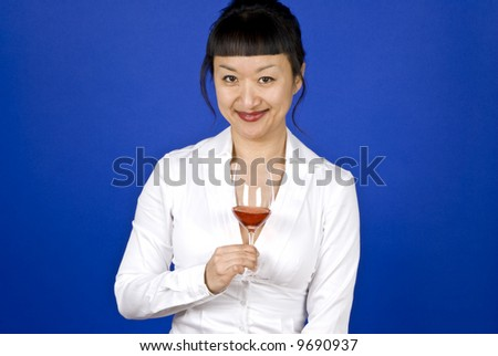 Asian Woman with a Glass of Wine