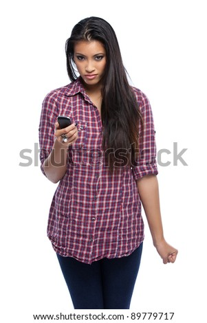 asian woman with cellphone isolated on white - stock photo