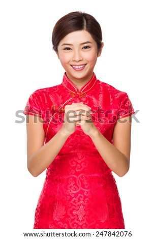 Asian woman with congratulation sign for chinese near year
