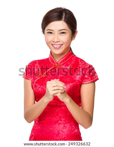 Asian woman with congratulation sign for lunar near year