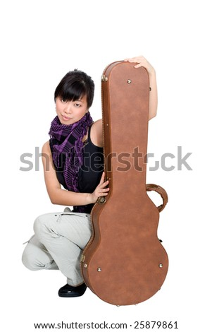 Asian woman with guitar case on white background - stock photo