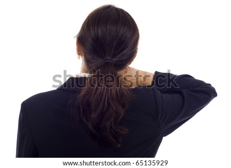 Asian woman with neck pain isolated over white background - stock photo