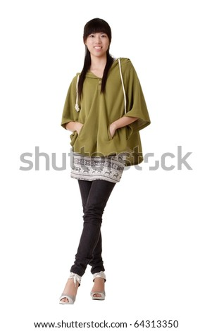 Asian woman with smiling expression, full length portrait isolated on white. - stock photo