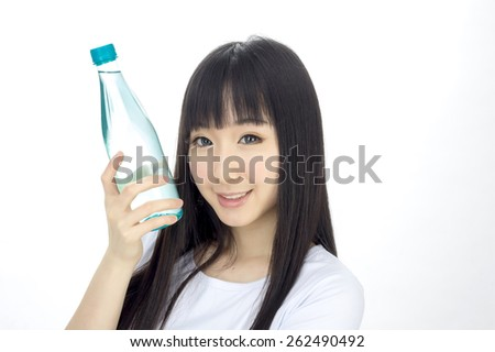 asian woman with water bottle healthy isolated posing
