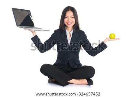 asian woman work life and health balance - stock photo