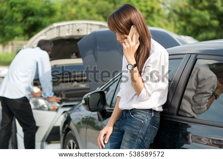 Asian Women Asian Man Stressed Roadside Stock Photo (Download Now ...
