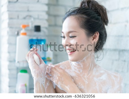 Asian women taking a shower