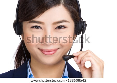 Asian women call center with phone headset - stock photo