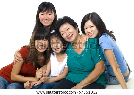 Asian women, 3 generations in white background - stock photo