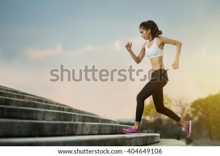 Asian women Jogging steps - stock photo