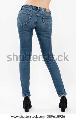 asian women posing in jeans back views,isolated on white background. - stock photo